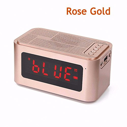 (GIMTVTION Portable S61 Wireless Bluetooth 4.0 Speaker with Time Display Alarm Clock Handsfree Call Support TF Card IPX5 Waterproof (Rose Gold))