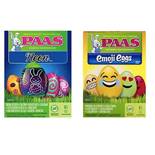 Egg Dye - Easter Egg Dye Kits Set of 2 - PAAS Shake & Color, Neon, Eggmoji Eggs or RJ Rabbit Crazy Eggs Set (Eggmoji Eggs & Neon Eggs) ()