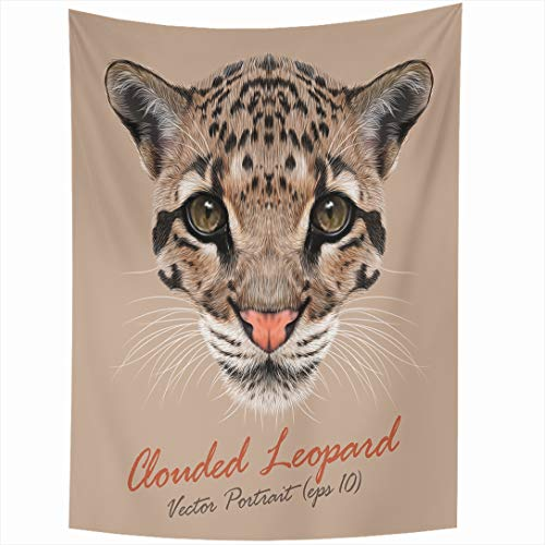 Ahawoso Tapestry 60x90 Inch Face Cat Clouded Leopard Asian Nature Ears Eyes Pattern Realistic Tiger Head Design Beast Wall Hanging Home Decor for Living Room Bedroom Dorm