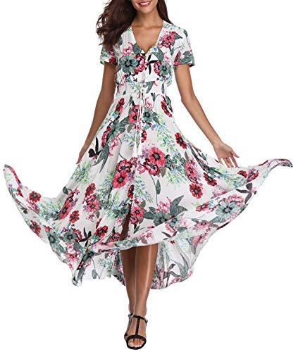 (Women's Floral Maxi Dresses Boho Button up Split Beach Party Long Dress)