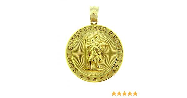 """0 GOLD St Saint San Cristopher christopher pendant 10k charm necklace 1.85"""""""