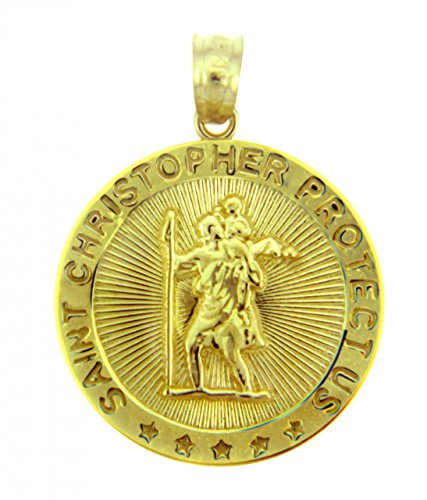 10k Gold Baseball Pendant - 10k Yellow Gold St Christopher Medal Catholic Charm Traveler Protection Pendant