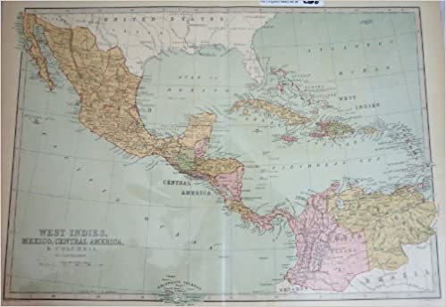 A Descriptive Hand Atlas of the World Map of West Indies, Mexico ...