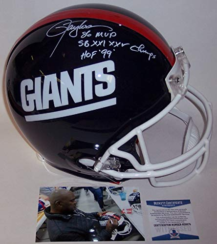 Lawrence Taylor Autographed Hand Signed NY New York Giants Throwback Full Size Authentic Pro Football Helmet - with 86 NFL MVP, SB XXI,XXV Champs & HOF 99 Inscriptions - BAS ()