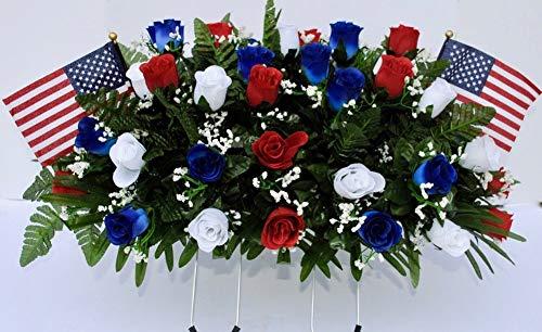 Patriotic Cemetery Headstone Saddle