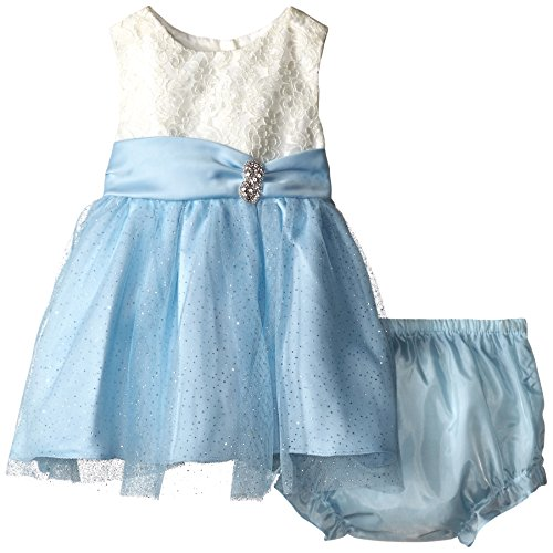 Rare Editions Baby Girls' Lace and Glitter Mesh Dress, White/Blue, 24 Months ()