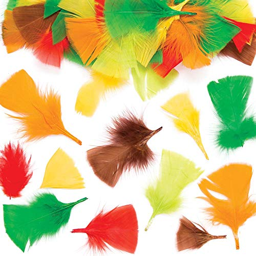 Baker Ross Autumn Colors Craft Feathers (Pack of 120) for Kids to Decorate, Arts, Crafts, Cards & Scrapbooking - Fancy Dress Costume Mask Decoration for Carnival / Mardi Gras or Parties