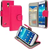 Warrior Wireless (TM) Hot Pink Leather Wallet Pouch Case Cover with Slots for Samsung Galaxy S4 Mini i9190 + Bundle = (ITEM + CELLPHONE STAND) - By TheTargetBuys