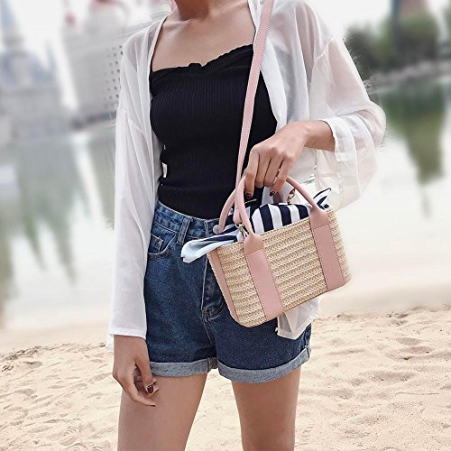 Crossbody Summer Set Powlance 2pcs Women Clutch Beach Handbags Straw Shoulder Pink Travel fxx8Aw5E
