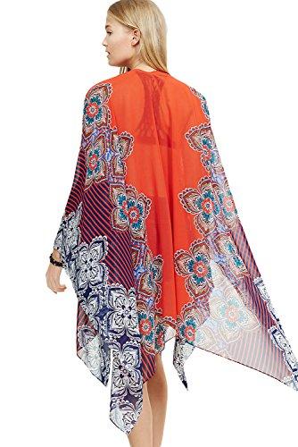 Nuevas señoras naranja multi capa de impresión playa Beachwear Cover Up Summer Wear caftán tamaño M UK 10–�?2EU 38–�?0