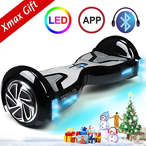 TOMOLOO Self-Balancing Scooter UL2272 Certified 6.5' Wheel Hoverboard with RGB Lights Bluetooth Speaker Customizable App Black