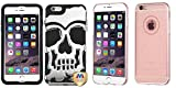 Combo pack MYBAT Silver Plating/Black Skullcap Hybrid Protector Cover for APPLE iPhone 6 Plus And MYBAT T-Rose Gold Glittering Clover Candy Skin Cover for APPLE iPhone 6s Plus/6 Plus
