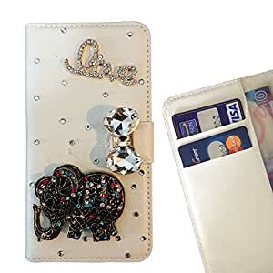 Betty shop - Elephant Love For Apple iPhone 5 5S - 3D Bling Case Crystal Diamond Rhinestone Beautiful Leather Cover Card Holder Wallet Cases -