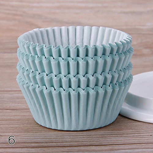 WXLAA 100PCS Mini Paper Cupcake Case Wedding Wrapper Muffin Liners Baking Cups Mint Green]()