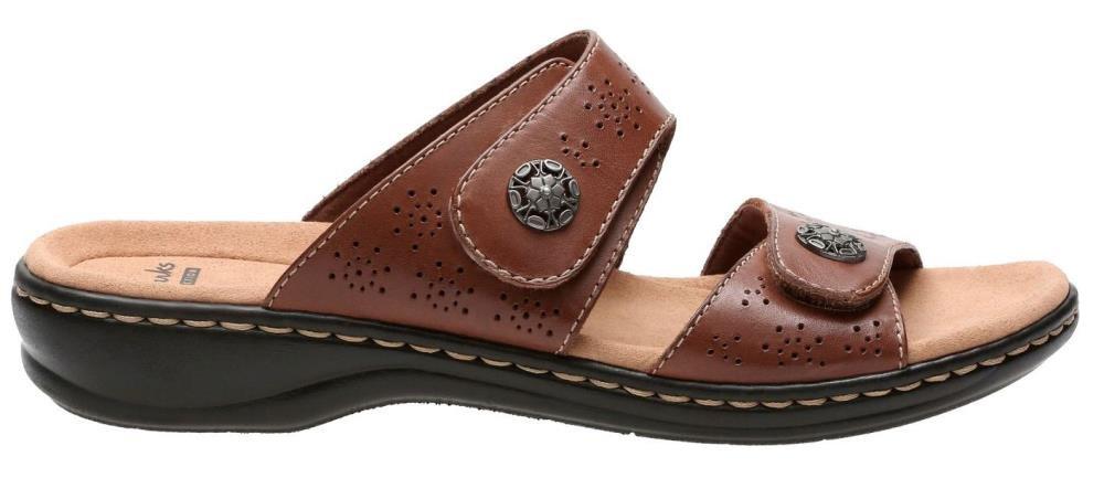CLARKS Women's, Leisa Zeme Low Heel Slide Sandals TAN 7 M