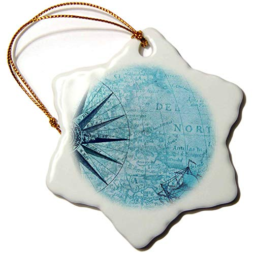 - 3dRose Lens Art by Florene - Nautical Maps - Image of Ancient Nautical Map of Antilles in Aqua with Schooner - 3 inch Snowflake Porcelain Ornament (ORN_317567_1)