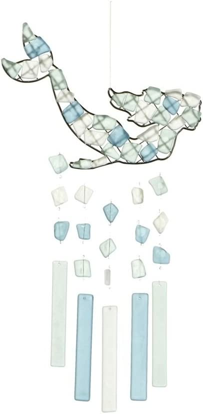 MIDWEST-CBK Peaceful Sea Glass Wind Chime (Mermaid Swimming)