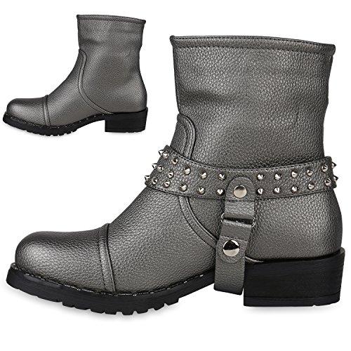 Stiefelparadies Damen Biker Boots Nieten Stiefeletten Metallic Leicht Gefüttert Flandell Grau Nieten Avelar