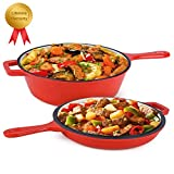 Enameled 2-In-1 Cast Iron Multi-Cooker - Heavy Duty 3.2 Quart Skillet and Lid Set, Cast Iron Saucepan and Shallow Skillet Lid Set Sauce Pot & Nonstick Frying Pan (Red)