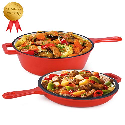 Enameled 2-In-1 Cast Iron Multi-Cooker - Heavy Duty 3.2 Quart Skillet and Lid Set, Cast Iron Saucepan and Shallow Skillet Lid Set Sauce Pot & Nonstick Frying Pan (Red) (Cast Pot Pan Iron And Set)