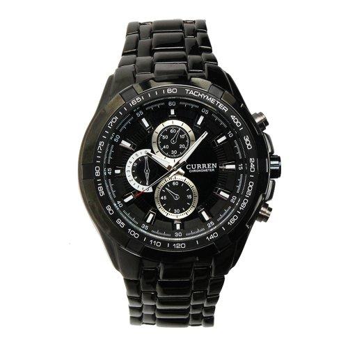 MuchBuy Fashion Black Stainless Steel Luxury Sport Analog Quartz Clock Mens Wrist Watch, Watch Central