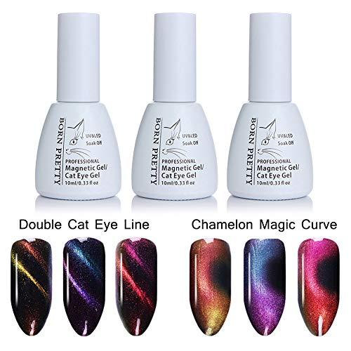 Born Pretty Cat Eye Gel Polish Set, Chameleon Magnetic Soak Off UV Gel Nail Polish Varnish for Nail Art(3 Colors)