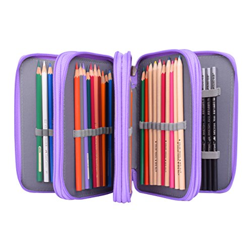 Pencil Caes,Newcomdigi 72 Slots Multi-layer Pen Bag Large Capacity Pouch Stationary Case Macro Pens Waterproof Pencil Makeup Cosmetic Case Holder (purple)