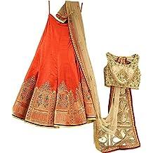 FotoableArc Women's Embroidery Work Anarkali Style lehnga,lehenga choli(OrangeColor_FreeSize) …