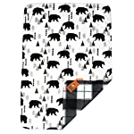 Dear-Baby-Gear-Deluxe-Reversible-Baby-Blankets-Custom-Minky-Print-Black-Bears-Black-and-Grey-Plaid-Minky