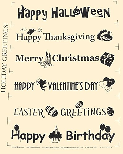 Block Party Studios Holiday Greetings Panel 6-3.5in x 15.5in Rectangles Natural with Black Writing, 6-3.5
