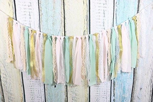 Lace Tassel Garland Fabric Garland Rag Tie Garland Shabby Chic Blush banner Wedding Backdrop Wedding Decor Baby Shower Party Decor Home Decor Wall Hanging Boho Decor Fall Decor Birthday Banner