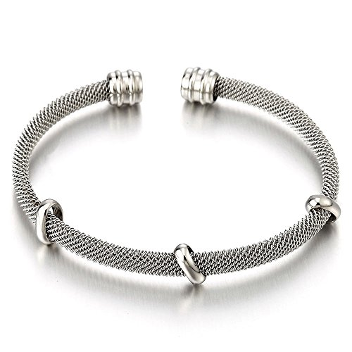 COOLSTEELANDBEYOND Elastic Adjustable Stainless Steel Mesh Bangle Cuff Bracelet with Charms for Women and Girls