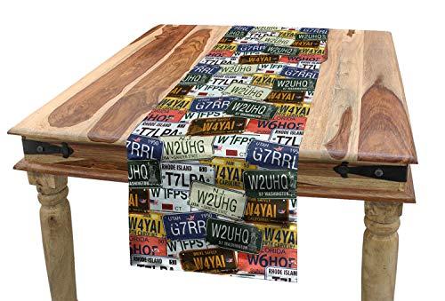 Ambesonne USA Table Runner, Retro American Auto License Plates Utah Washington Rhode Island North Carolina Print, Dining Room Kitchen Rectangular Runner, 16 W X 72 L Inches, ()