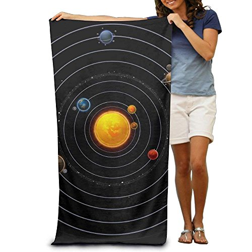 Super Absorbent Beach Towel Solar System Polyester Velvet Beach Towels 31.551.2 Inch by Bhuis