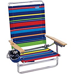 Rio Beach Classic 5 Position Lay Flat Folding Beach Chair - Pop Surf Stripes