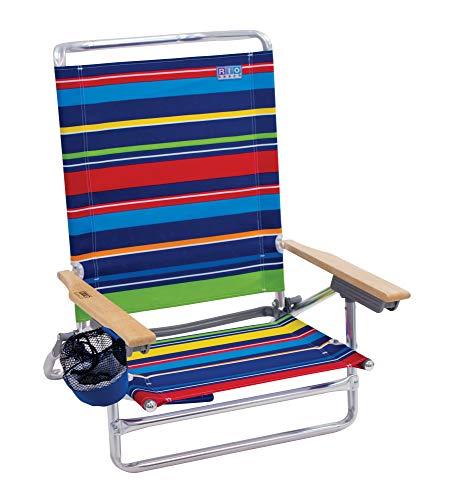 Rio Beach Classic 5 Position Lay Flat Folding Beach Chair - Pop Surf Stripes