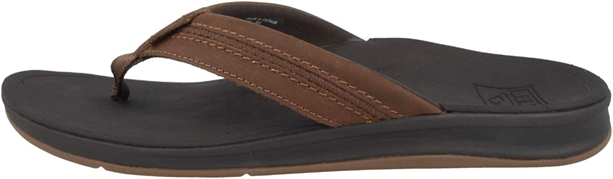 Brown REEF Mens Leather Ortho-Bounce Coast Sandals Size 12
