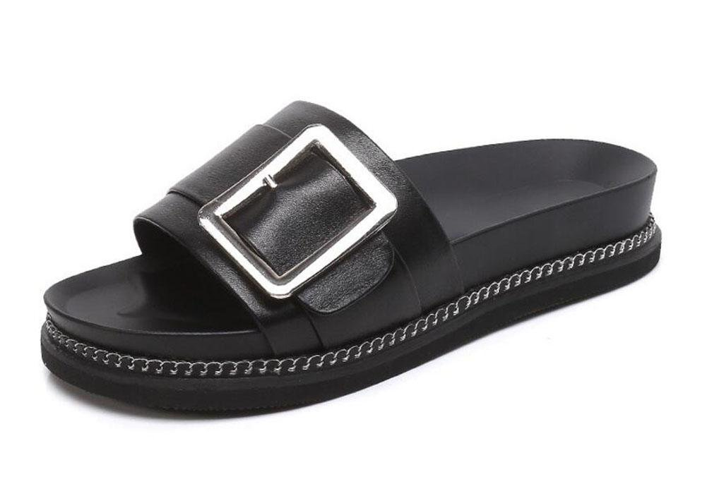 ce2d12845a45 Women Open Shoes Sandals Leather Slippers Female Summer 2017 Thick Bottom  Sandals Belt Buckle Flat Students Slippers Metal Chain Beach Shoes   Amazon.co.uk  ...