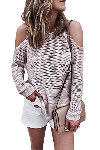 4XL, Beige, L&ZZ Womens Cold Open Shoulder Loose Pullover Tops Long Sleeve Sweater