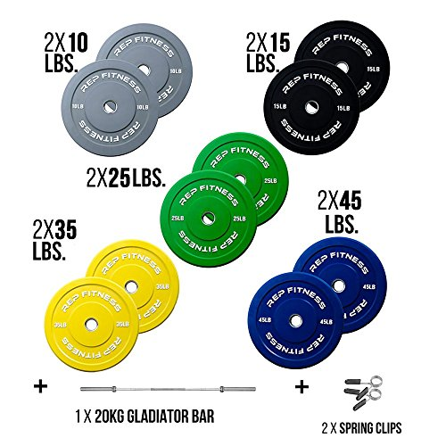 Rep Bar and Color Bumper Plate Package, 260 lb Set with 20kg Gladiator and Spring Clips