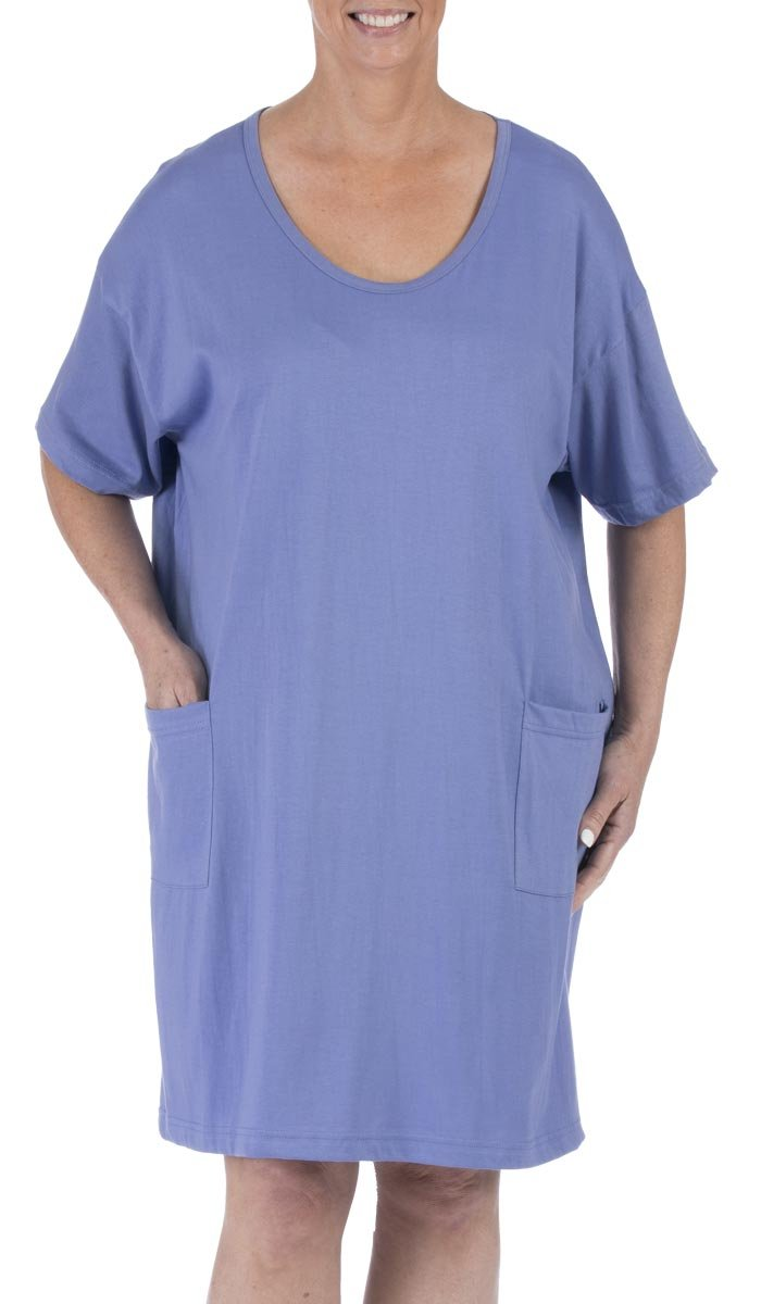 Amy Alder Sleep Nightshirt Nightgown Sleepshirt Nightdress Cover Ups Coverup Cotton Solid (One Size Fits Most, Iris)