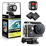#5: MOSPRO FT7500 Action Camera, 4K Ultra HD Wifi Waterproof 170 Degree Wide Angle 12 MP DV Camcorder Sports Camera with 2.4G Remote Control 2Pcs 1050mAh Batteries 19 Mounting Kits(2017 New)