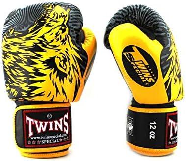 Twins ツインズ スクリーミンング ウルフ ブラック/イエロー ボクシンググローブ 本革製,Screaming Wolf 黒/黄  14oz
