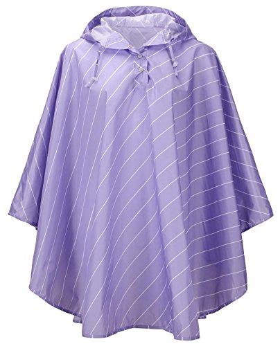 QZUnique Women's Lightweight Outdoor Ripstop Waterproof Packable Rain Jacket Stripes Poncho Raincoat with Hood Purple]()