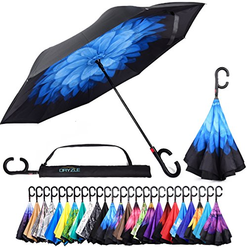 - Dryzle Reverse Inverted Auto Open Umbrella Upside Down Windproof Umbrellas for Women and Men (15 Designs)