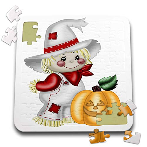 - 3dRose Anne Marie Baugh - Illustrations - Cute Smiling Scarecrow with A Pumpkin Illustration - 10x10 Inch Puzzle (pzl_317966_2)