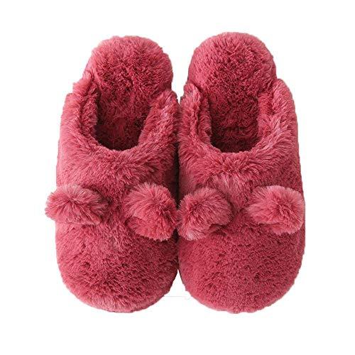 Shoes Memory Plush Women Fuzzy 1 Pom Burgundy Home Skid Foam Slippers House Non Ears qBaTP