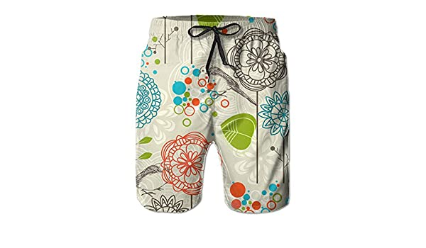 ZADEAS Gentleman Daily Beach Shorts Awesome Vector Birds and Sunflowers Board Shorts