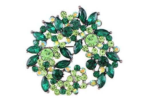 Green Womens Brooch - Alilang Emerald Green Crystal Rhinestone Floral Wreath Brooch Pin