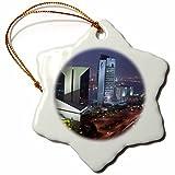3dRose orn_71140_1 UAE, Dubai, Deira, Baniyas Road, City Skyline AS44 WBI0343 Walter Bibikow Snowflake Ornament, Porcelain, 3-Inch
